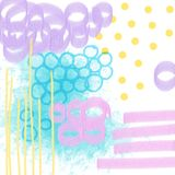 Utdragen sammansättning för idérik konstnärlig hand med cirklar, linjer, prickar, fläckar, borsteslaglängder, fläckar kall bakgru royaltyfri illustrationer