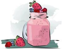 Utdragen smoothie för hand som går att kupa med jordgubbeillustrationen royaltyfri illustrationer