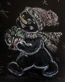 Utdragen snögubbe med en julgran på en svart bakgrund handgjort Royaltyfri Bild