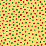 Utdragen spridd prickmodell för grön och röd hand på gul bakgrund Sömlös vektordesign med modern vibe vektor illustrationer