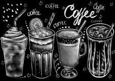 Utdragen stilmat f?r krita, packe, drinkar och kalligrafiord royaltyfri illustrationer
