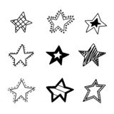 Utdragen stjärnabakgrund för gullig hand Klotterstjärnamodell arkivfoto