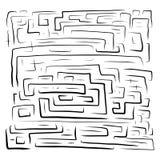 Utdragen svart labyrint för hand på royaltyfri illustrationer
