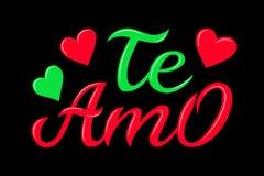 Utdragen typografibokstäver Te amo för hand Te amo - jag älskar dig i spansk romantisk dekorativ bokstäver Vektorvalentin royaltyfri illustrationer