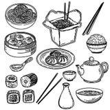 Utdragen uppsättning för hand av asiatisk mat som isoleras på vit bakgrund stock illustrationer