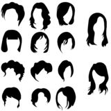 Utdragen uppsättning för rengöringsdukhand av olika hårstilar för kvinnor s vektor illustrationer