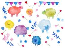 Utdragen uppsättning för vattenfärghand av tecknad filmfår med beståndsdelar: blommor stjärnor, sheeps, blad, små flaggor stock illustrationer