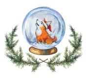 Utdragen vattenfärgillustration för hand av snöjordklotet med en corgihund i jultomten hatt stock illustrationer