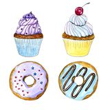 Utdragen vattenfärgmuffin för hand och donutskort vektor illustrationer
