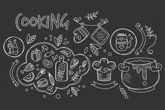 Utdragen vektordesign för hand av att laga mat ingredienser och köksgeråd för förberedelsedisk Mat och drink kulinariskt stock illustrationer