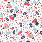 Utdragen vintermodell för sömlös hand med stack hattar, sockor och arkivbilder