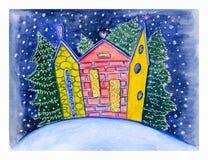 Utdragen vykort för vattenfärghand med den lilla gulliga färgrika staden och snöig gran på den dekorativa bakgrunden för vinter royaltyfri illustrationer