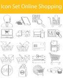Utdraget klotter fodrad symbolsuppsättningonline-shopping Arkivbilder
