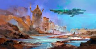 Utdraget rymdskepp över en främmande planet stock illustrationer