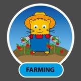 Utdraget tecken - en lycklig katt är en bonde växte tomater på deras Arkivbild