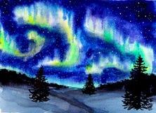 Utdraget vattenfärglandskap för hand med nordligt ljus Mystiskt glöd i himlen på natten arkivfoto