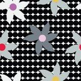 Utdragna abstrakta blommor för grå färghand på sömlös modell för svart cirkelbakgrund stock illustrationer
