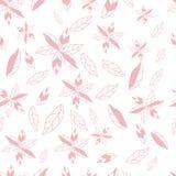 Utdragna abstrakta blommor för rosa hand på sömlös modell för vit bakgrund vektor illustrationer