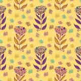 Utdragna abstrakta blommor för stilfull hand med målarfärgkludd och subtila klotterlinjer Sömlös vektorrepetitionmodell på guling stock illustrationer