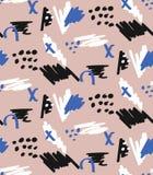 Utdragna borsteslaglängder för hand och sömlös modell för prickar med den blåa, vita svarta markören modern abstrakt bakgrund Mod royaltyfri illustrationer