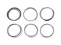 Utdragna cirklar för klotterhand som isoleras på en vit bakgrund royaltyfri illustrationer
