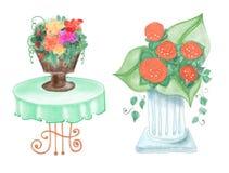 Utdragna färgrika blommavaser royaltyfri illustrationer