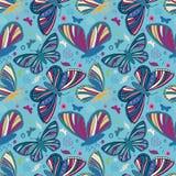 Utdragna fjärilar för flerfärgad folkkonststilhand Sömlös vektormodell på texturerad blå bakgrund Utmärkt för stock illustrationer