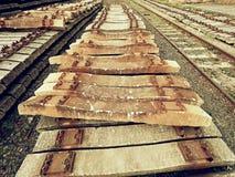 Utdragna gamla konkreta längsgående stödbjälke i materiel Lagrade gamla rostiga använda konkreta järnväg band Arkivbilder