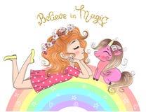 Utdragna härliga gulliga små prinsessaflickor för hand med enhörningen stock illustrationer