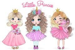Utdragna härliga gulliga små prinsessaflickor för hand med enhörningen vektor illustrationer