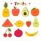 Utdragna kawaiifrukter för gullig hand Sund stilsamling Plan stil Vegetarisk mat cartoon stock illustrationer