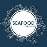 Utdragna linjer för havs- hand för restaurangmenyräkning på blått royaltyfri illustrationer
