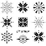 Utdragna snöflingor för dekorativ hand Stiliserad snöflingavektorillustration stock illustrationer