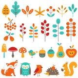 Сute autumn design elements. Set of autumn design elements Royalty Free Stock Image