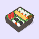 Ute bento. Japanese lunch box. Funny cartoon food. Isometric colorful vector illustration. Ute bento. Japanese lunch box. Funny cartoon food. Isometric colorful Stock Photos