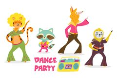 Ð¡ute cartoon animals in retro style. Dance party. Vector illustration for posters, cards, invitation. Сute cartoon animals in retro style. Dance party stock illustration