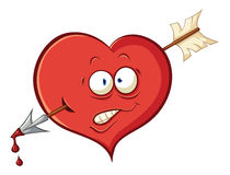 Сute cartoon heart Wounded by an arrow of Cupid Royalty Free Stock Photography