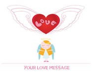 Ute cartoon illustration of young angel woman in love Royalty Free Stock Photo