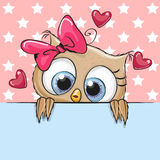 Сute Cartoon Owl Girl is holding a placard Stock Photo