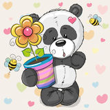 Сute cartoon Panda with flower Stock Images