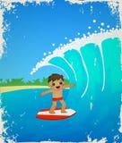 Сute cartoon surfer.  Vector illustration Royalty Free Stock Photos
