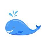 сute cartoon whale with a splashing fountain Stock Photography