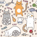 Сute cats seamless pattern. Vector illustration Royalty Free Stock Images