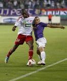 UTE contra Partido de fútbol de la liga del banco de DVSC OTP Fotos de archivo