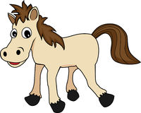 Ute happy looking cartoon brown horse Royalty Free Stock Photo