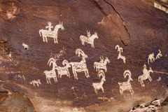 Ute Indian Petroglyphs Immagini Stock Libere da Diritti