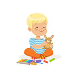 Ute little boy playing with plasticine, kids creativity vector Illustration. Isolated on a white background stock illustration