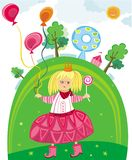 Сute little girl in park. Little cute girl holding balloons having fun in the park Stock Photos