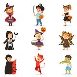 Ute little kids in colorful halloween costumes set, Halloween children trick or treating vector Illustrations. On a white background royalty free illustration
