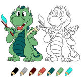 Сute mint dragon with toothpaste and toothbrush coloring book version. Stock Photography